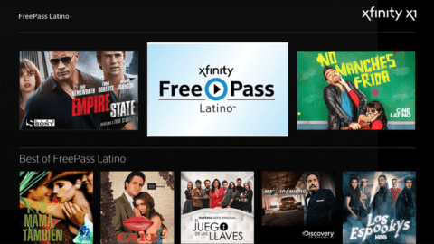 The FreePass Latino hub on Xfinity.